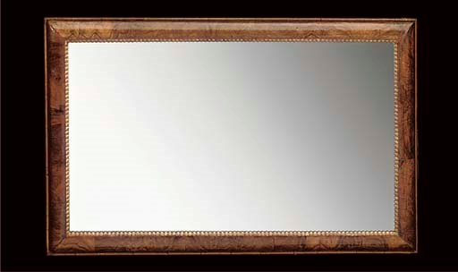 A WALNUT FRAMED RECTANGULAR MI