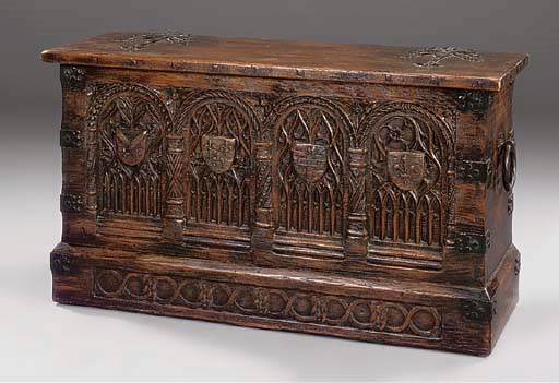 AN OAK CHEST