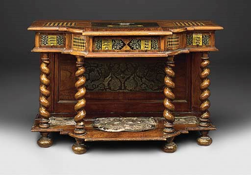 A GERMAN WALNUT PARQUETRY AND