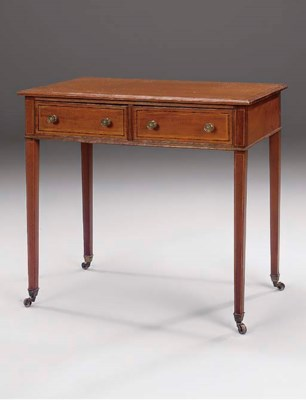 AN EDWARDIAN MAHOGANY AND LINE