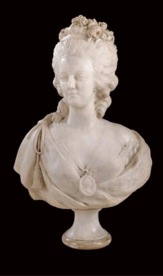 A FRENCH WHITE MARBLE BUST OF