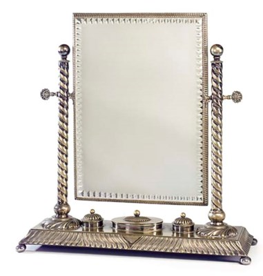A SILVER-PLATED DRESSING TABLE