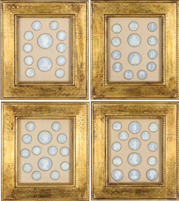 A SET OF FOUR FRAMED GROUPS OF