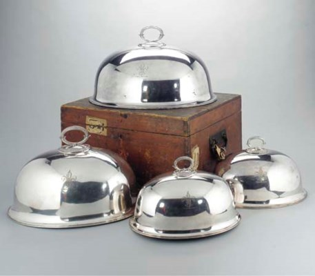 FOUR ELECTRO-PLATED MEAT DISH