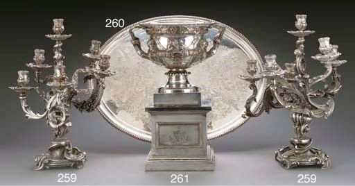 A SILVER-PLATE TEA TRAY