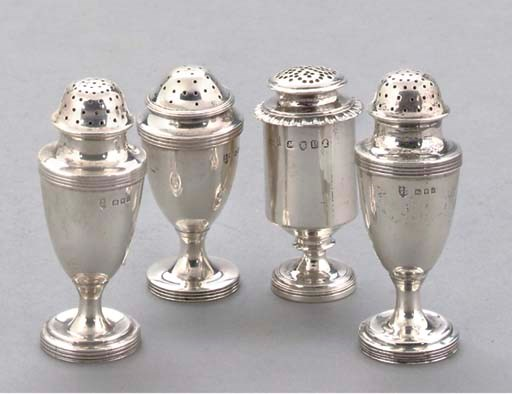 FOUR SILVER PEPPERETTES