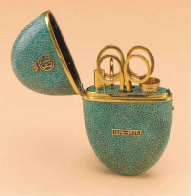 A 9CT GOLD MOUNTED SHAGREEN SE