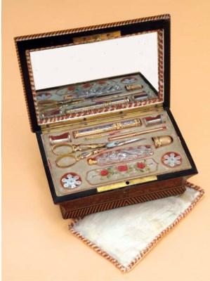 A WALNUT SEWING BOX