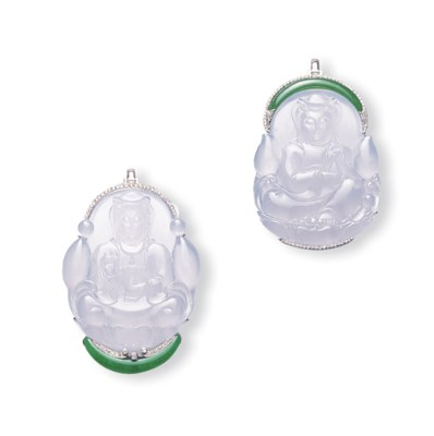 TWO JADEITE GUANYIN AND DIAMON