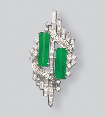 A JADEITE AND DIAMOND PENDANT/