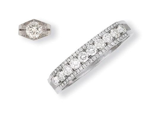 A DIAMOND BANGLE AND RING