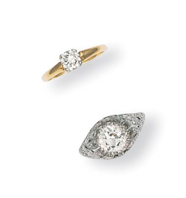 TWO SINGLE-STONE DIAMOND RINGS