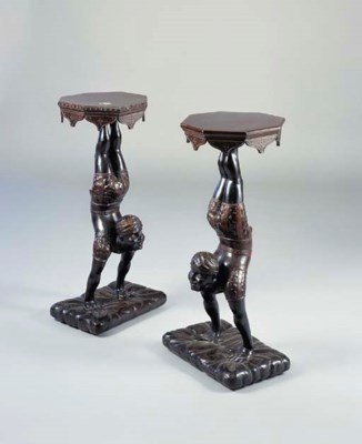 A PAIR OF CARVED BLACKAMOOR TO