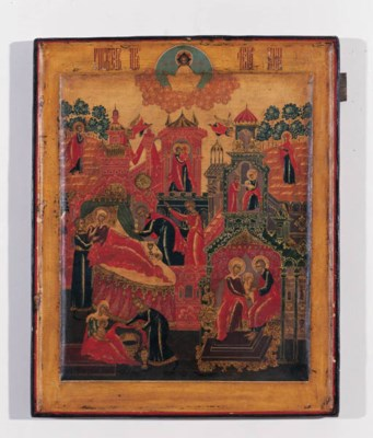 A RUSSIAN ICON WITH SCENES FRO