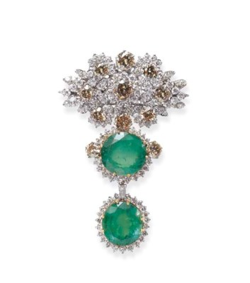 AN EMERALD, DIAMOND AND COLORE