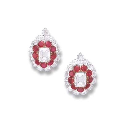 A PAIR OF DIAMOND AND RUBY EAR