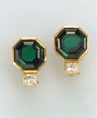 A PAIR OF GREEN TOURMALINE, DI