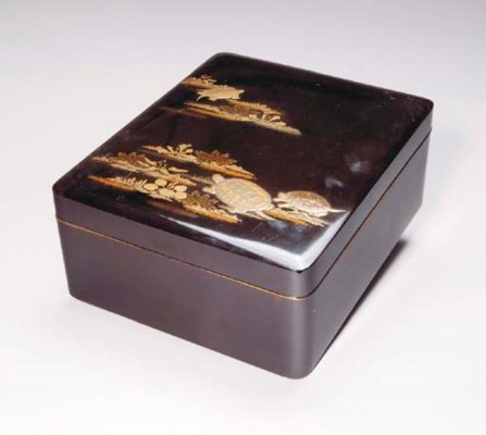 A JAPANESE BLACK LACQUER BOX,