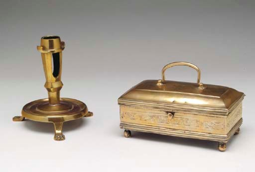 A GROUP OF BRASS TABLE ARTICLE