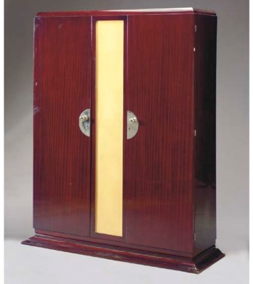 AN ART DECO MAHOGANY AND PARCH