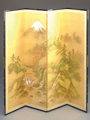 A JAPANESE FOUR-PANEL SCREEN,