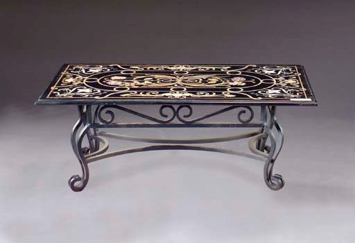 A PIETRA DURA LOW TABLE ON A W