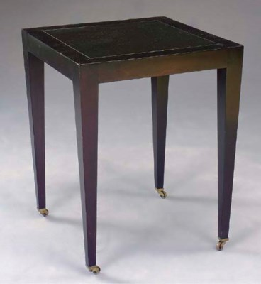 A BLACK-PAINTED SIDE TABLE,