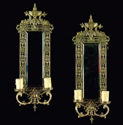 A PAIR OF VICTORIAN BRASS BARO