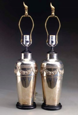 A PAIR OF NEOCLASSIC STYLE SIL