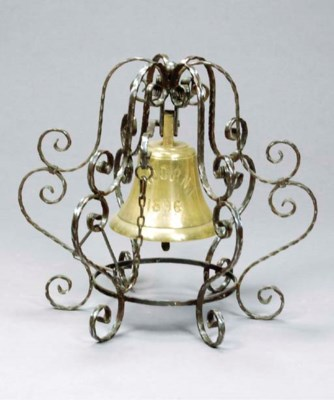 A WROUGHT-IRON AND BRASS BELL,