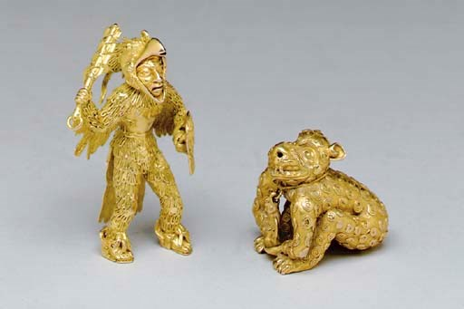TWO PRE-COLUMBIAN STYLE GOLD F