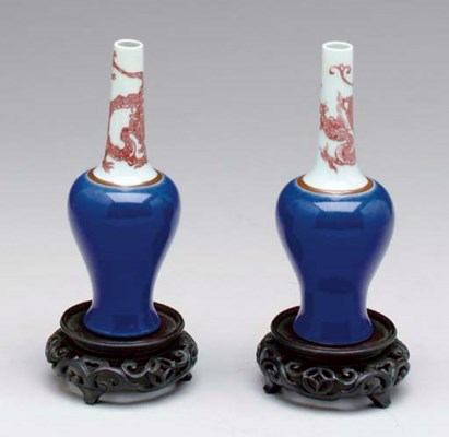 A PAIR OF CHINESE COPPER-RED A