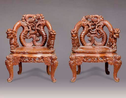 A PAIR OF CHINESE CARVED HARDW