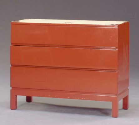 AN ORANGE LACQUER CHEST OF DRA
