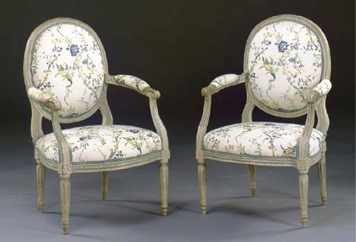 A PAIR OF LOUIS XVI GRAY PAINT
