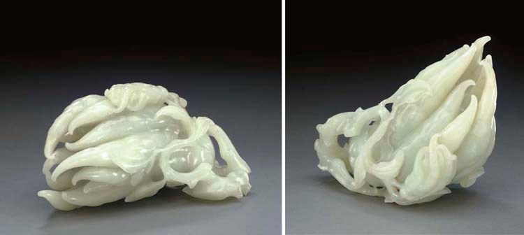 A LARGE WHITE JADE CARVING OF