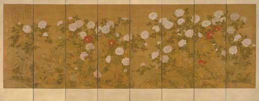 A PAINTED EIGHT-PANEL SCREEN