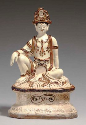 A RARE CIZHOU PAINTED FIGURE O