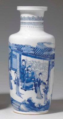 A BLUE AND WHITE ROULEAU VASE