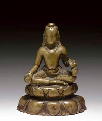 A Brass Figure of Maitreya