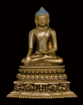 A BRONZE FIGURE OF BUDDHA AKSH