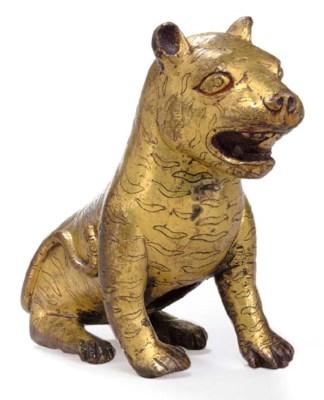 A Gilt Bronze Figure of a Tige