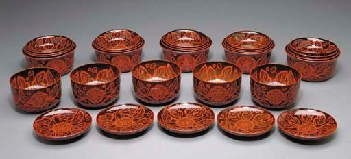 A Set of Covered Lacquer Bowls