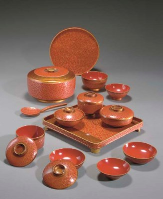 A Set of Lacquer Dishes for a