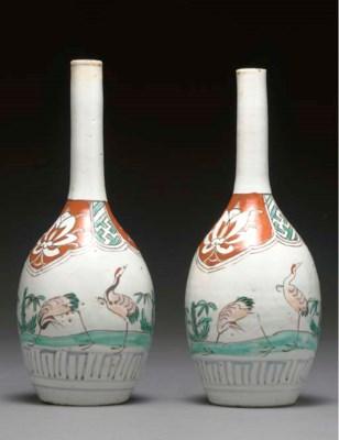 A Pair of Porcelain Bottles