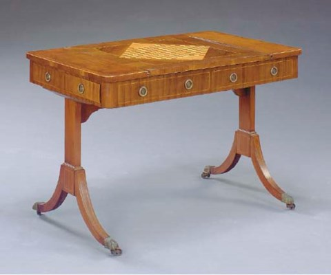 A REGENCY LINE INLAID MAHOGANY