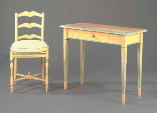 A LOUIS XVI STYLE YELLOW AND B