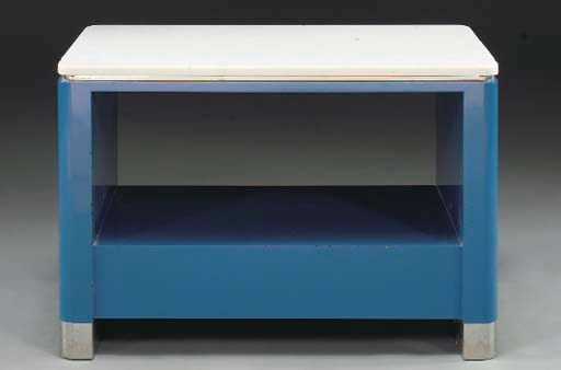 A BLUE-LACQUERED WOOD, MARBLE