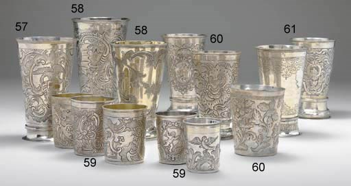 TWO LARGE SILVER BEAKERS
