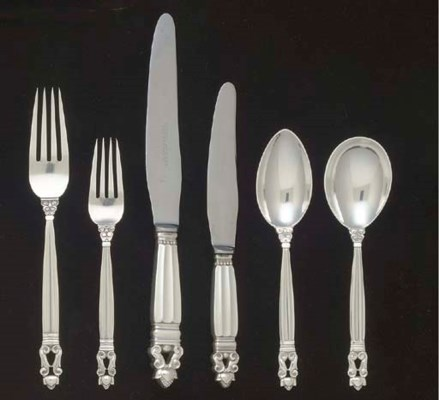 A DANISH SILVER TABLE SERVICE
